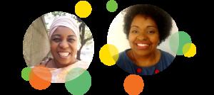 Descrição da imagem: fotos em formato circular de Angelita Garcia e Perla Assunção. Ao redor da imagem há pequenos círculos nas cores laranja, amarelo e verde.