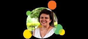 Descrição da imagem: foto em formato circular de Larissa Mundim. Ao redor da imagem há pequenos círculos nas cores laranja, amarelo e verde.