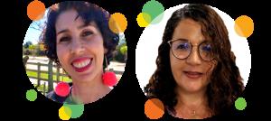 Descrição da imagem: fotos em formato circular de Maria Caitana e Maria Esther. Ao redor da imagem há pequenos círculos nas cores laranja, amarelo e verde.